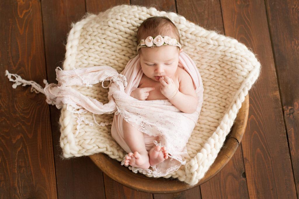 Newborn Baby Girl Pink Gauze Wrap