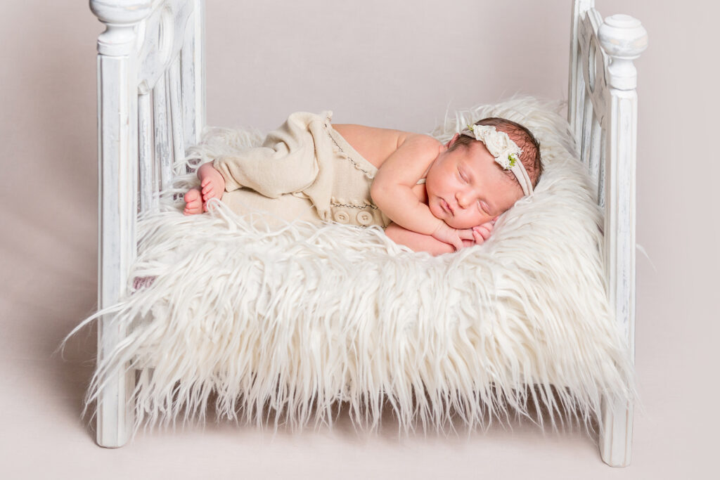 Newborn Bed Photo Prop with Faux Fur Blanket