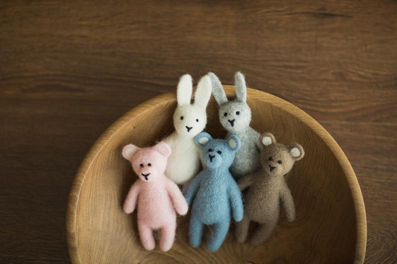 Felt Bunny and Teddy Bear Propsly on Etsy