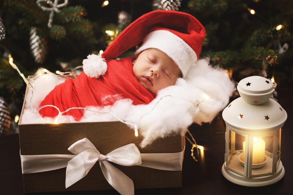 Newborn Baby Santa Outfit Holiday Shoot
