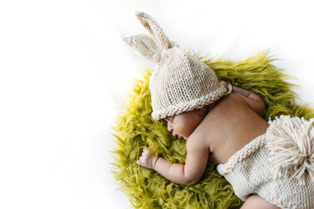 Newborn Baby with Bunny Outfit