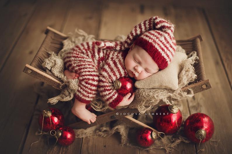 Newborn Red and White Alpaca Knit Romper and Hat Set GoodnightBabyByNook on Etsy Jocosa Limbert Photography