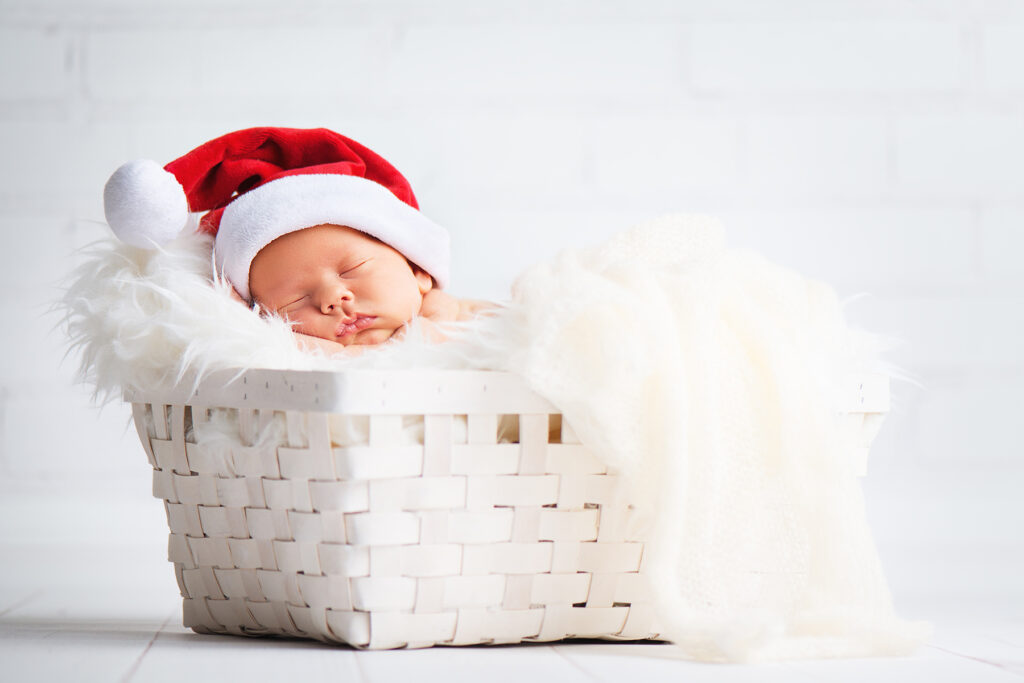 Newborn Santa Outfit in White Basket Christmas Session