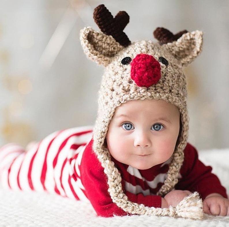Oatmeal Reindeer Baby Hat JojosBoutique on Etsy