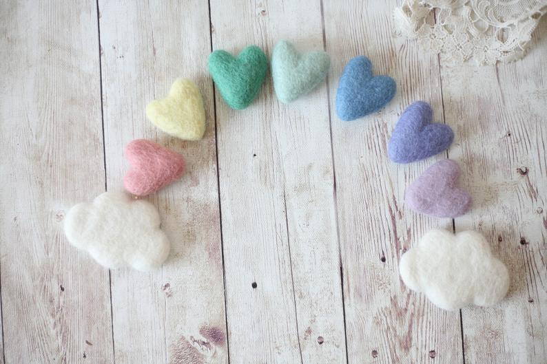Pastel Rainbow Felted Wool Hearts babybirdieboutique on Etsy