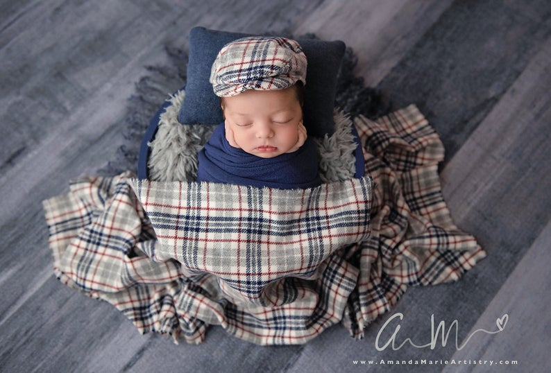 Plaid Newborn Cap and Fabric Layer LovelyBabyPhotoProps on Etsy Amanda Marie Artistry