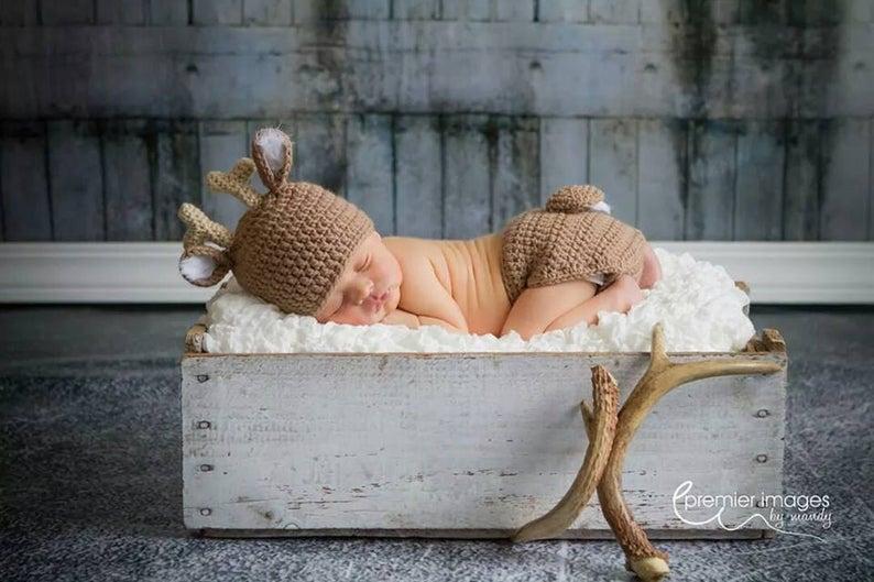 White Tail Deer Hat and Diaper Cover Newborn Crochet 3JoyfulHeartsDesign on Etsy